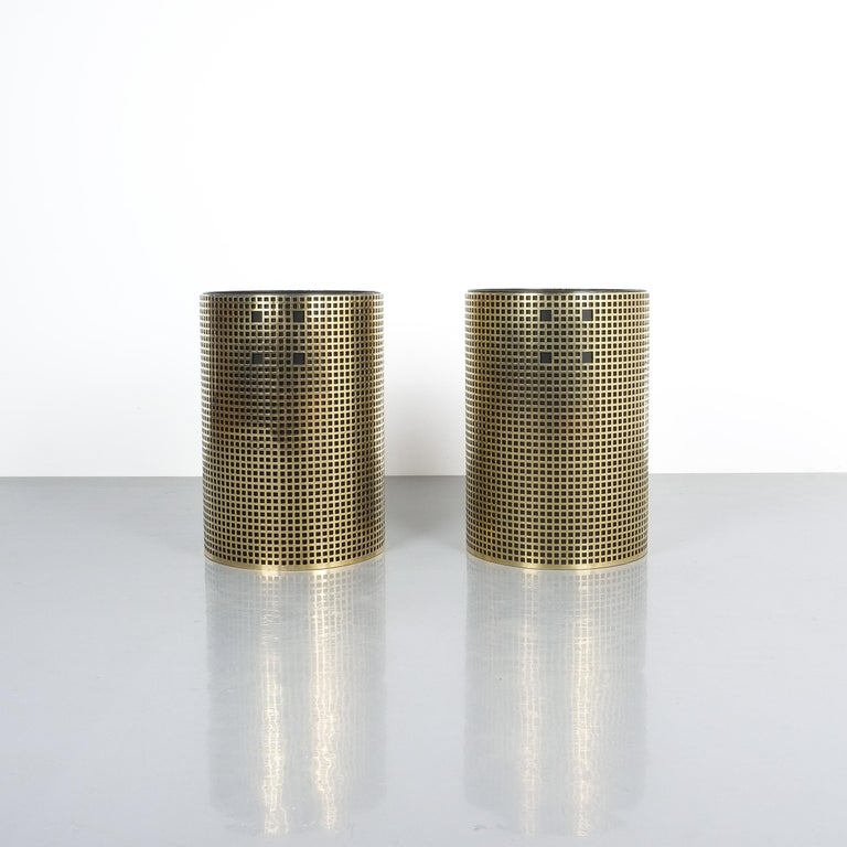 Mid-Century Modern Pair of Refurbished Josef Hoffmann Style Trash Cans, Austria, 1950 For Sale