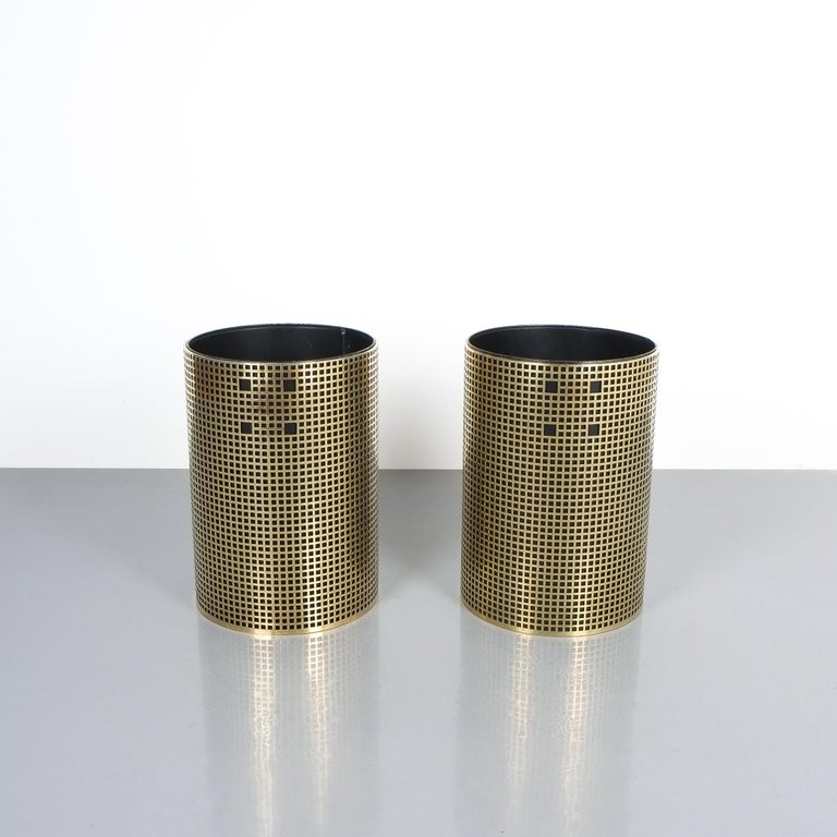 Austrian Pair of Refurbished Josef Hoffmann Style Trash Cans, Austria, 1950 For Sale