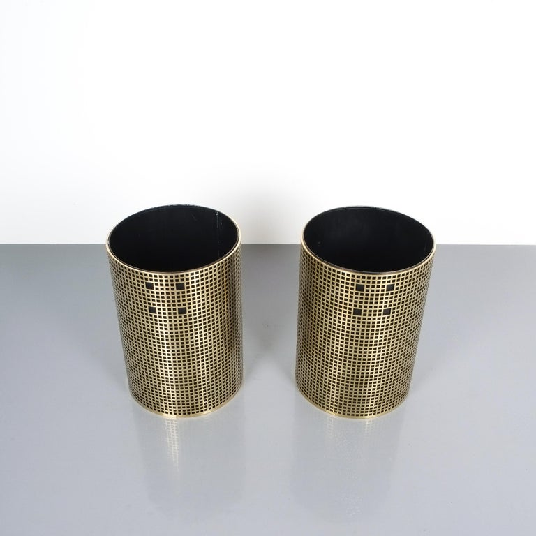 Polished Pair of Refurbished Josef Hoffmann Style Trash Cans, Austria, 1950 For Sale
