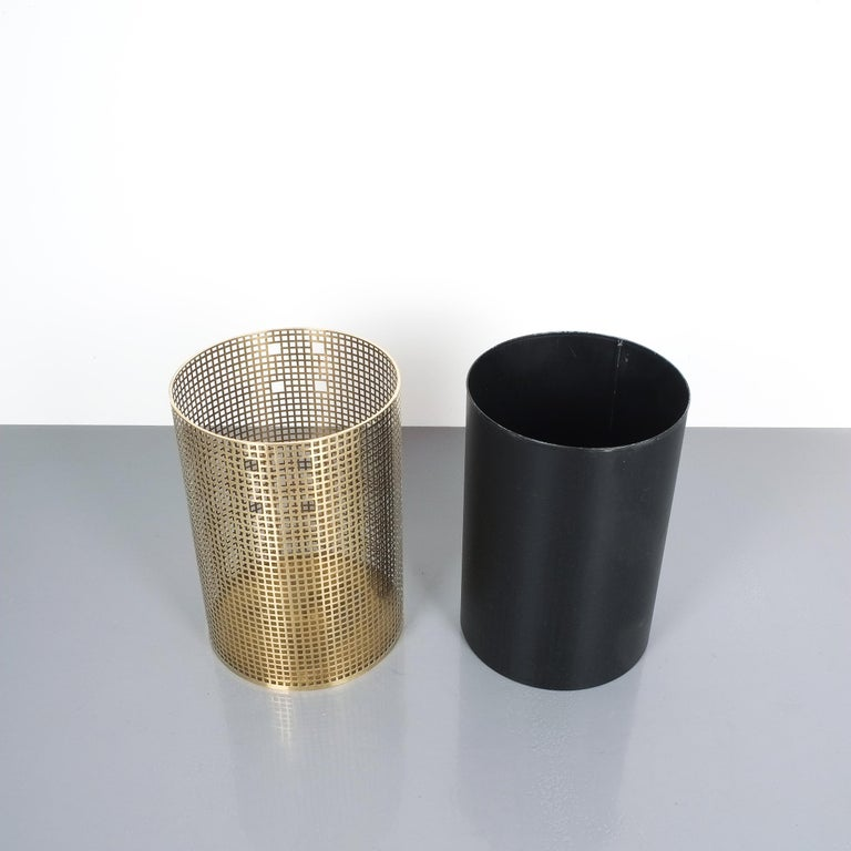 Brass Pair of Refurbished Josef Hoffmann Style Trash Cans, Austria, 1950 For Sale