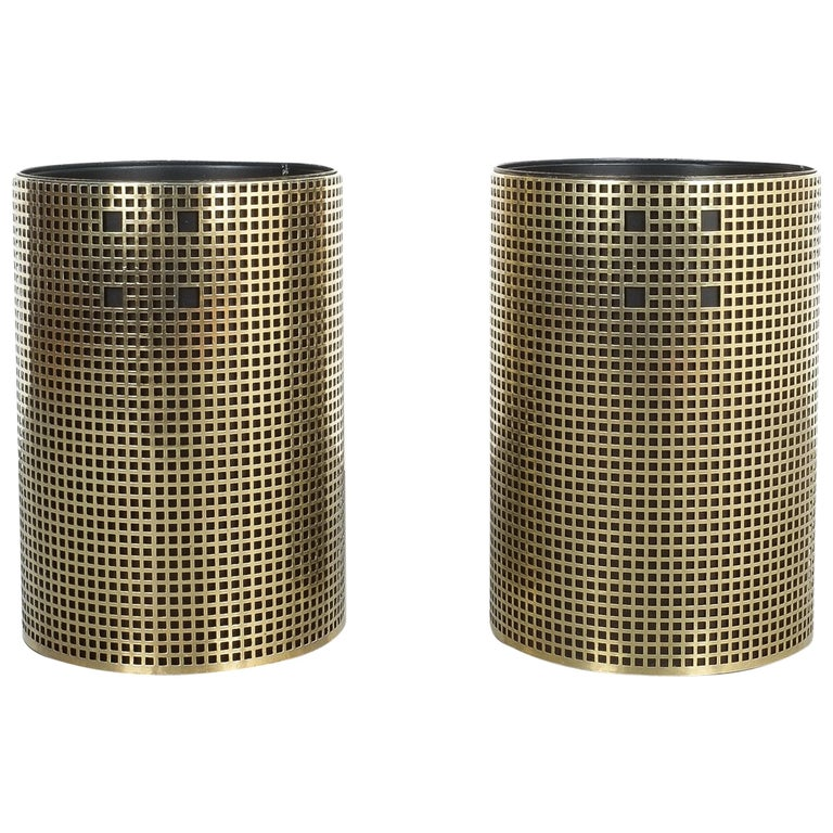 Pair of Refurbished Josef Hoffmann Style Trash Cans, Austria, 1950 For Sale