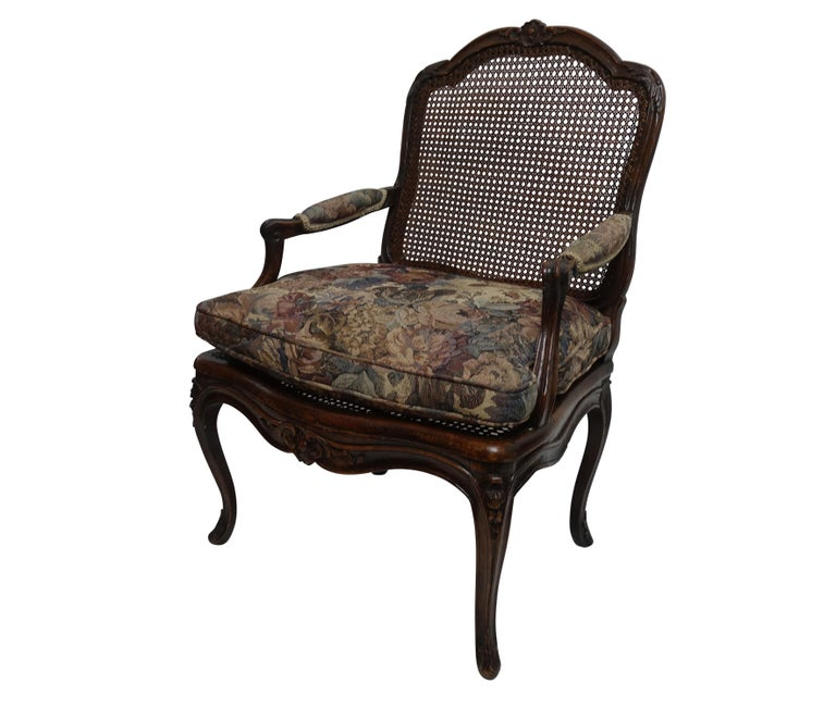 Regency Pair of Regence Armchairs with Cane Seats and Backrests, 18th Century For Sale