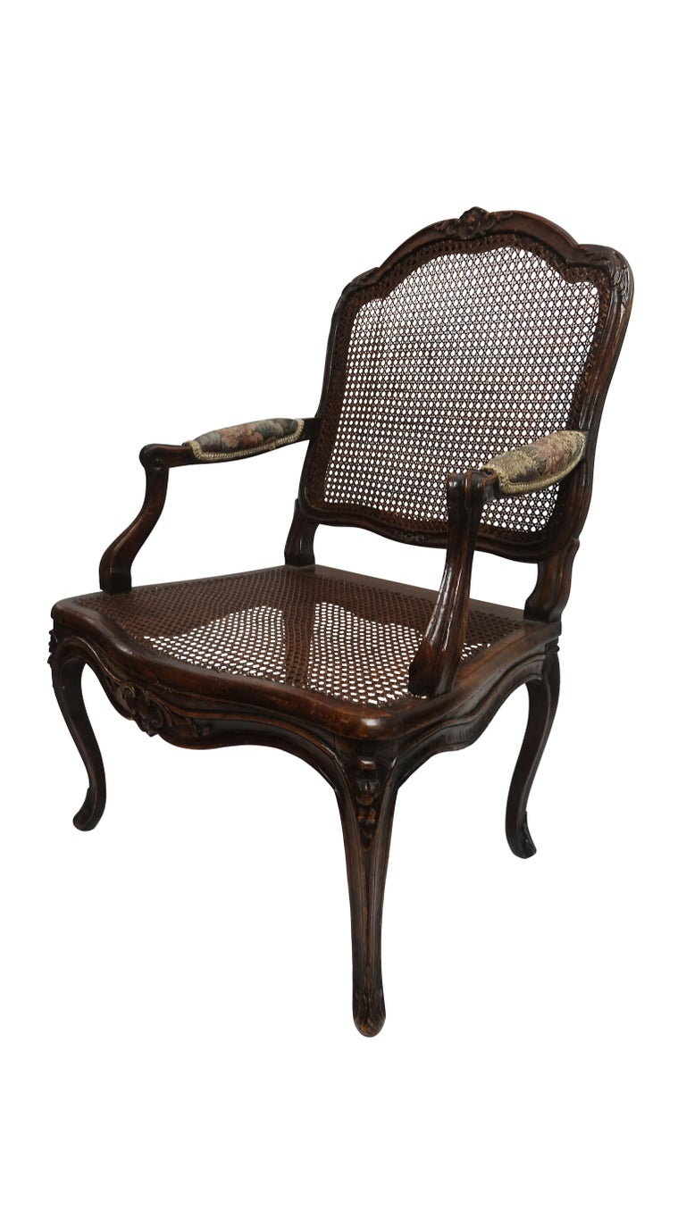 French Pair of Regence Armchairs with Cane Seats and Backrests, 18th Century For Sale