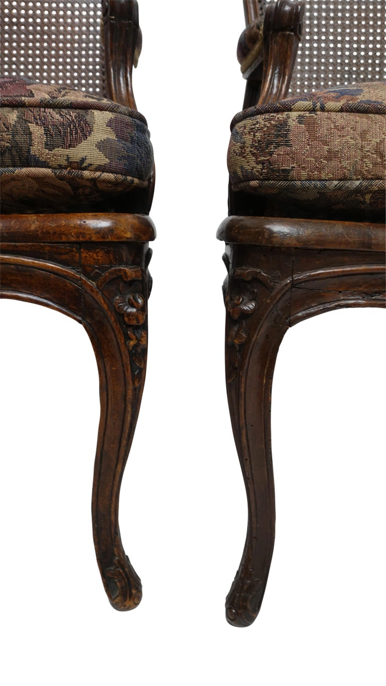 Tapestry Pair of Regence Armchairs with Cane Seats and Backrests, 18th Century For Sale