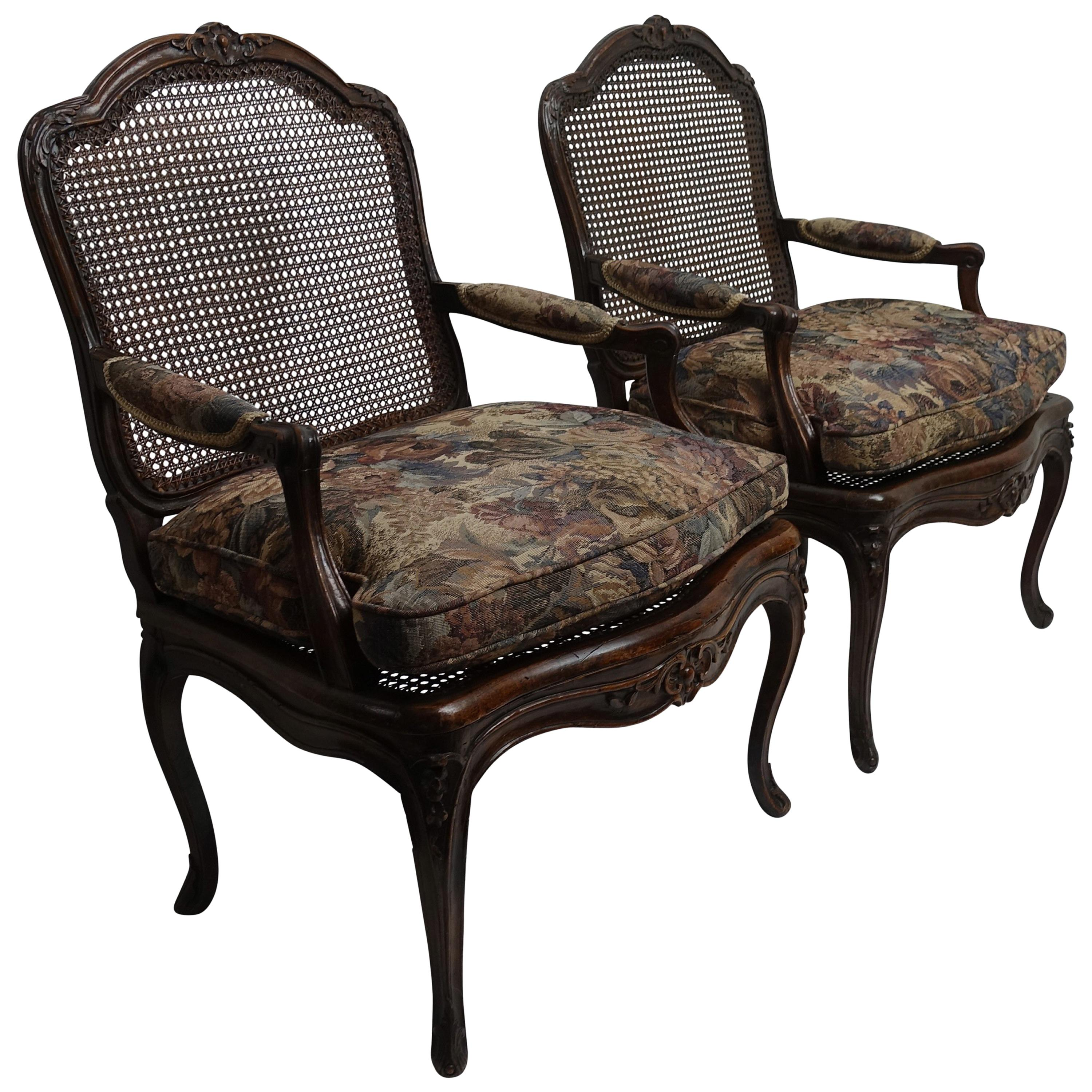 Pair of Regence Armchairs with Cane Seats and Backrests, 18th Century