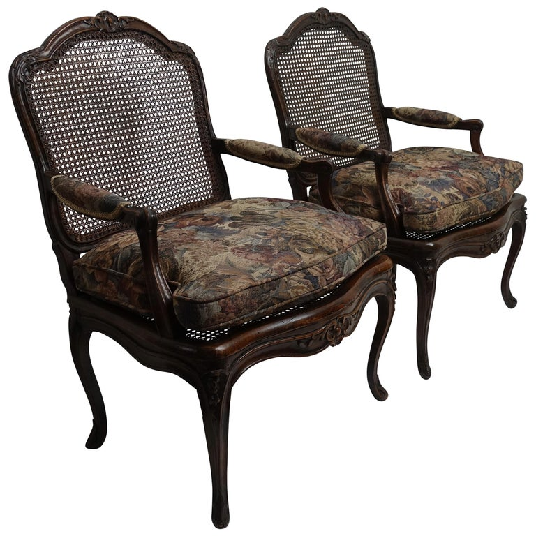 Pair of Regence Armchairs with Cane Seats and Backrests, 18th Century For Sale