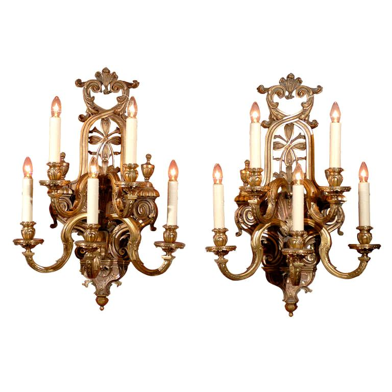 Pair of Regence Style Five-Light Sconces, circa 1910