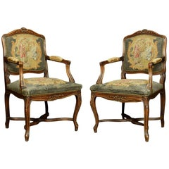 Pair of Regence Style Fruitwood Armchairs