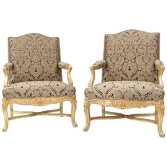 Pair of Regence Style Giltwood High Back Armchairs, circa 1970