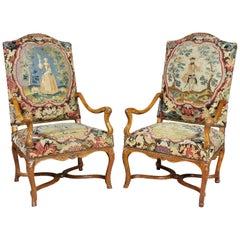 Pair of Regence Walnut Armchairs