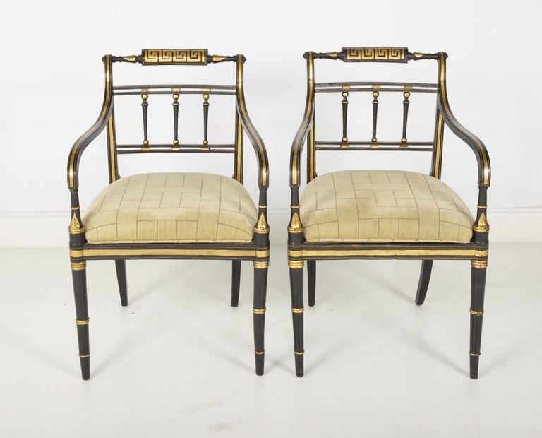 Pair of Regency Armchairs In Fair Condition For Sale In Port Chester, NY