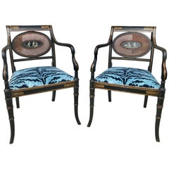 Pair of Regency Armchairs with Bevilacqua Blue Tiger Velvet