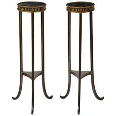 Pair of Regency Black and Parcel-Gilt Pedestals