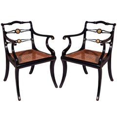 Pair of Regency Black Lacquer Klismos Armchairs