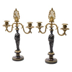 Pair of Regency Bronze Twin Arm Figural Candelabra, circa 1830