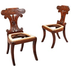Pair of Regency Brown Mahogany Hall Chairs