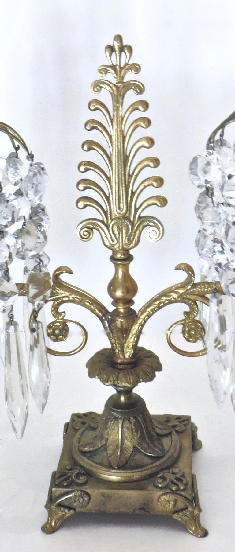 19th Century Pair of Regency Cut-Glass and Gilt-Metal Two Light Candelabras, circa 1815 For Sale
