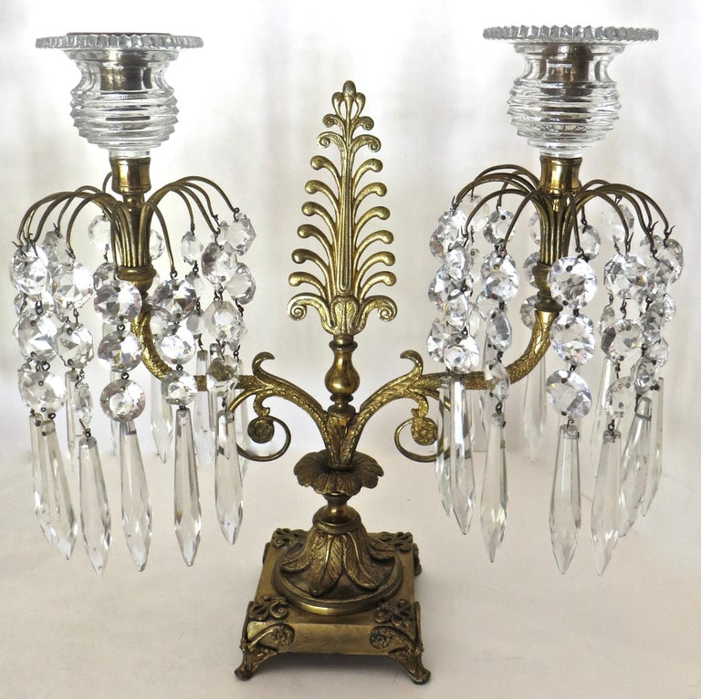 Cut Glass Pair of Regency Cut-Glass and Gilt-Metal Two Light Candelabras, circa 1815 For Sale