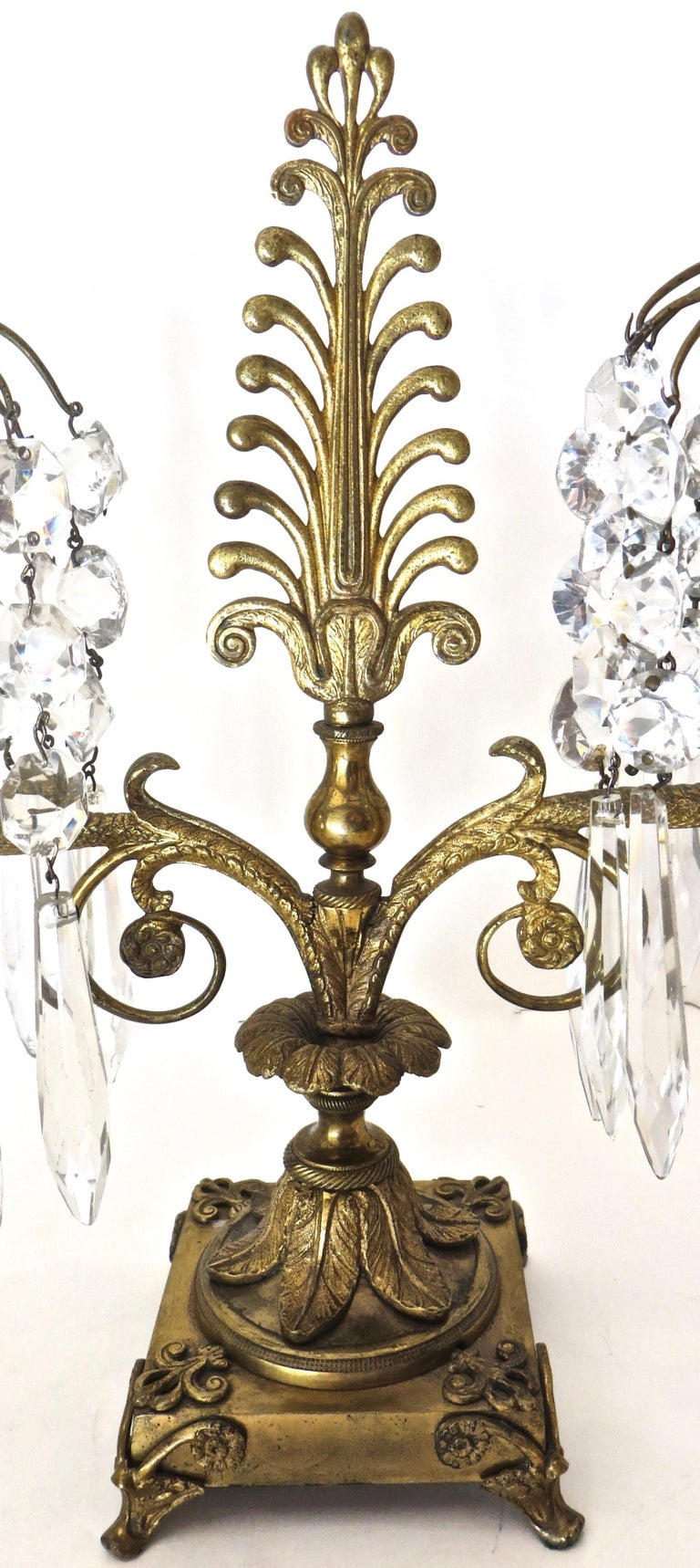 Pair of Regency Cut-Glass and Gilt-Metal Two Light Candelabras, circa 1815 For Sale 1