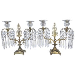 Pair of Regency Cut-Glass and Gilt-Metal Two Light Candelabras, circa 1815