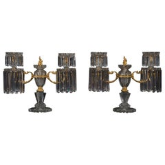 Pair of Regency Cut-Glass Candelabra by John Blades