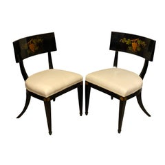 Pair of Regency Ebonized Klismos Side Chairs