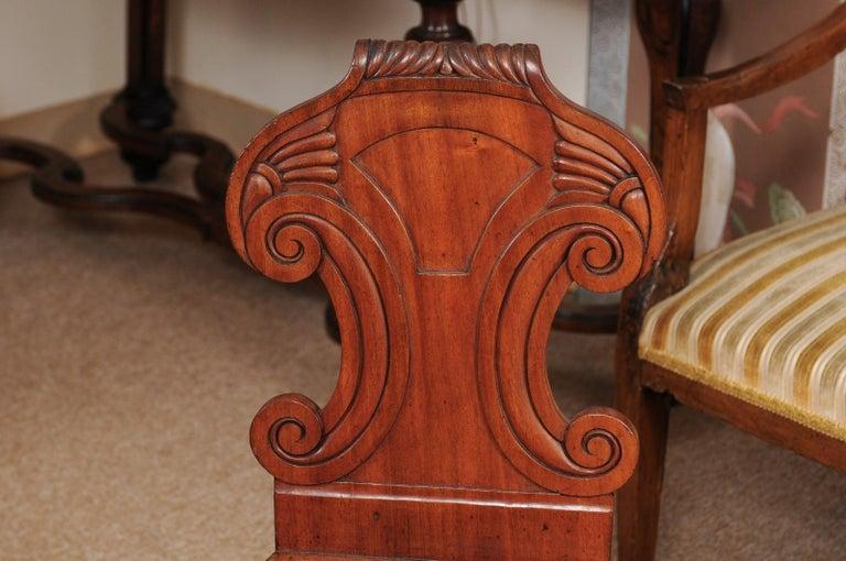 Pair of Regency English Mahogany Hall Chairs, circa 1810 For Sale 6