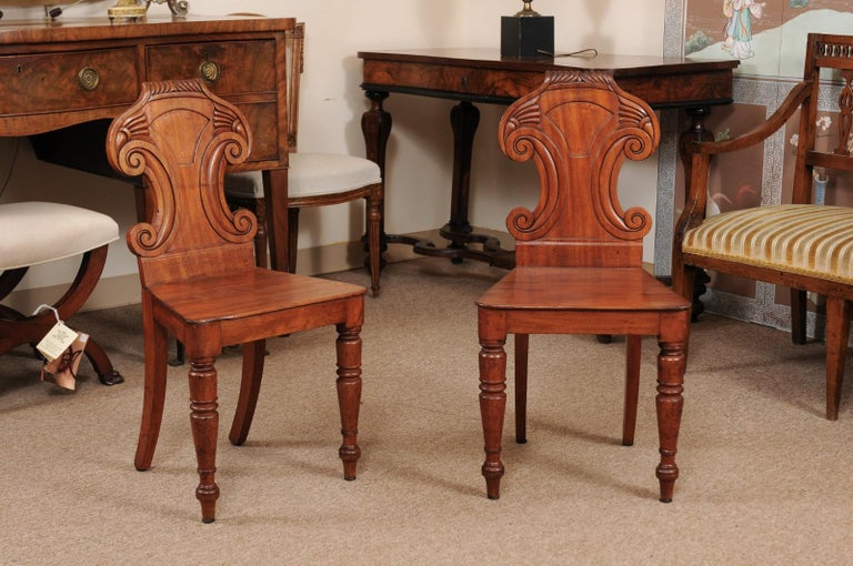 The pair of Regency English mahogany hall chairs featuring carved rounded back with scrolls, turned front legs and splayed back legs.