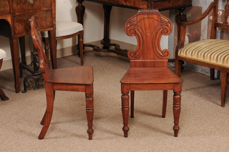 19th Century Pair of Regency English Mahogany Hall Chairs, circa 1810 For Sale