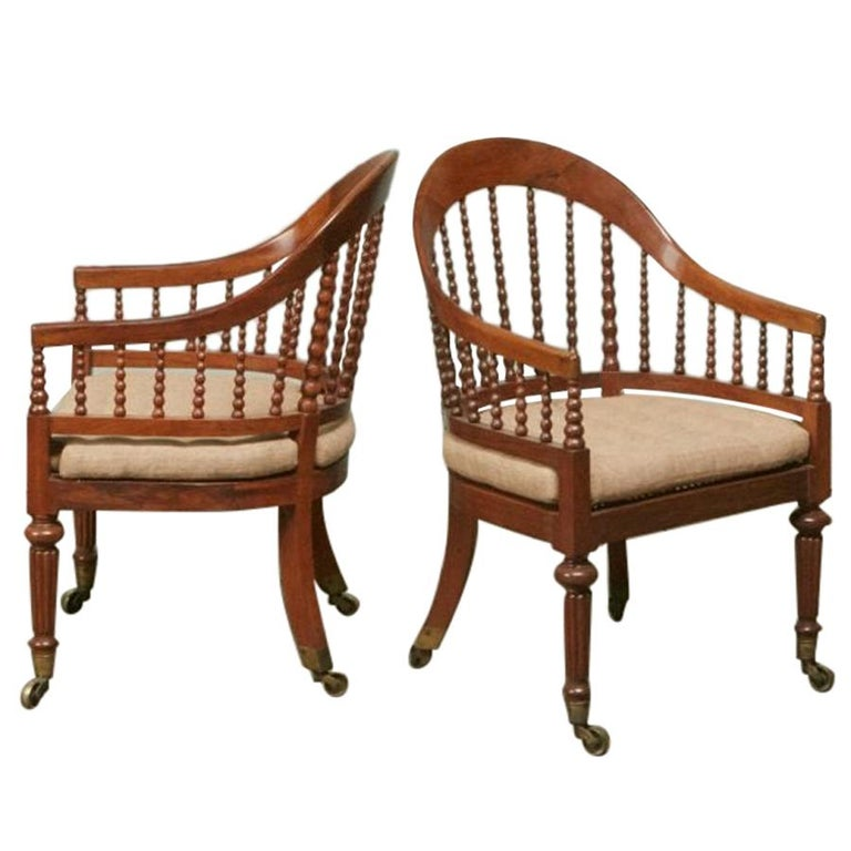 Pair of Regency Faded Rosewood Library Armchairs For Sale