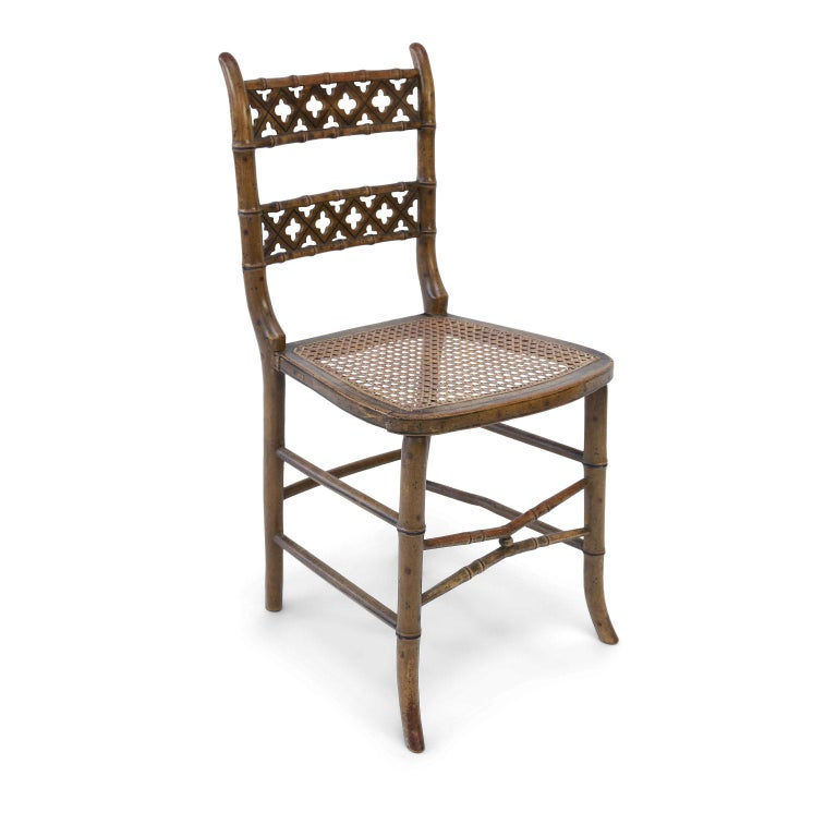English Pair of Regency Faux Bamboo Chairs For Sale