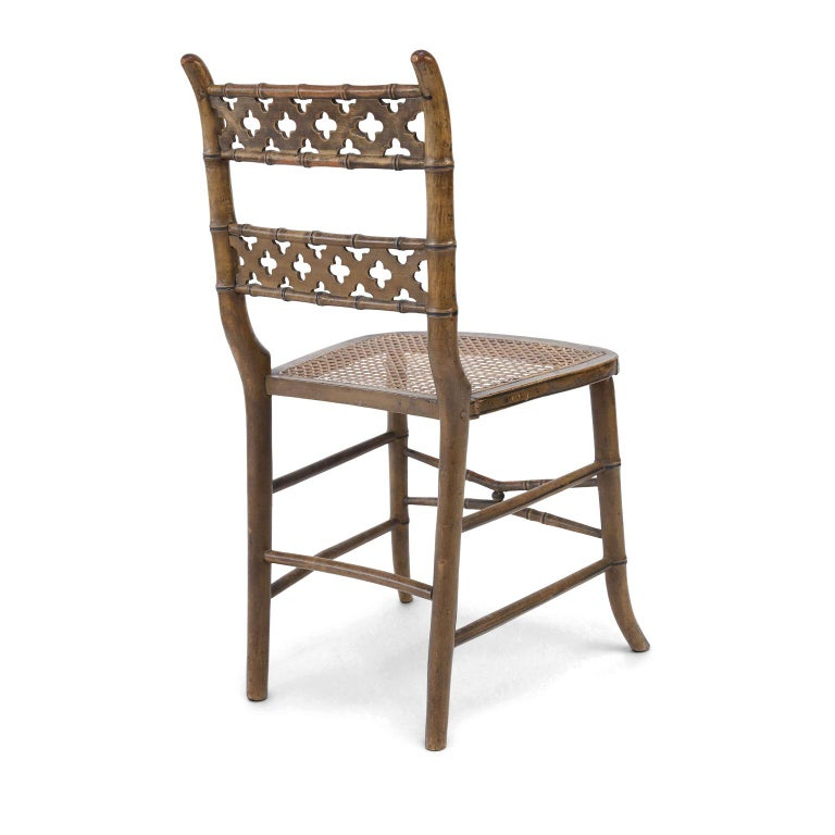 Hand-Carved Pair of Regency Faux Bamboo Chairs For Sale