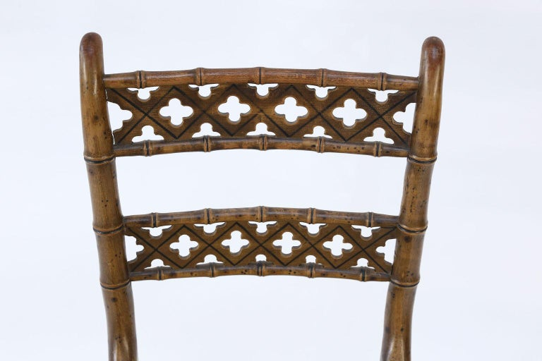 Pair of Regency Faux Bamboo Chairs In Good Condition For Sale In Houston, TX