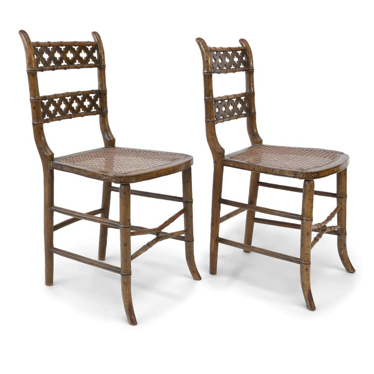 Pair of Regency Faux Bamboo Chairs For Sale 1