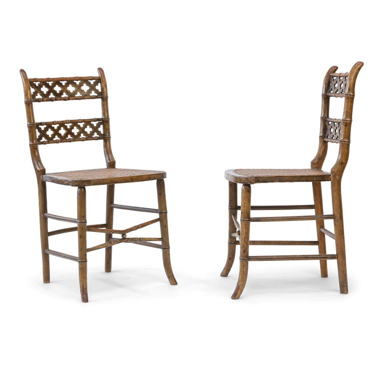 Pair of Regency Faux Bamboo Chairs For Sale 2