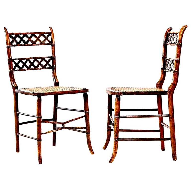 Pair of Regency Faux Bamboo Chairs For Sale 3