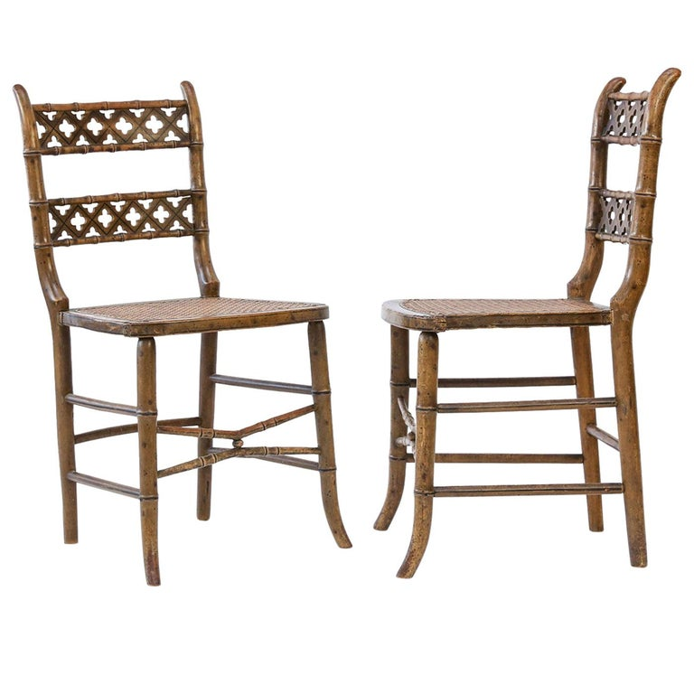 Pair of Regency Faux Bamboo Chairs For Sale