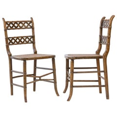 Pair of Regency Faux Bamboo Painted Chairs
