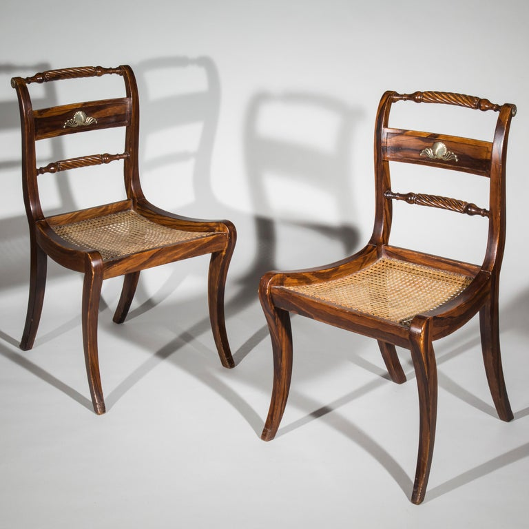 English Pair of Regency Faux-Bois Painted Klismos Chairs For Sale