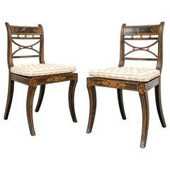 Pair Of Regency Faux Grain Painted Side Chairs