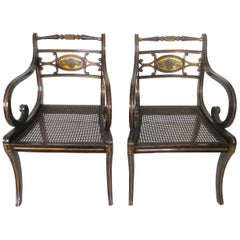 Pair of Regency Faux Rosewood Japanned and Parcel Gilt Armchairs, circa 1810