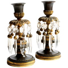 Pair of Regency Gilt and Patinated Bronze Candlesticks