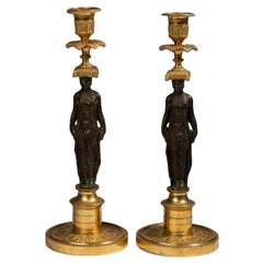 Pair of Regency Gilt and Patinated Bronze Figural Candlesticks