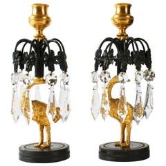 Pair of Regency Gilt and Patinated Bronze Ostrich Candlesticks, circa 1815