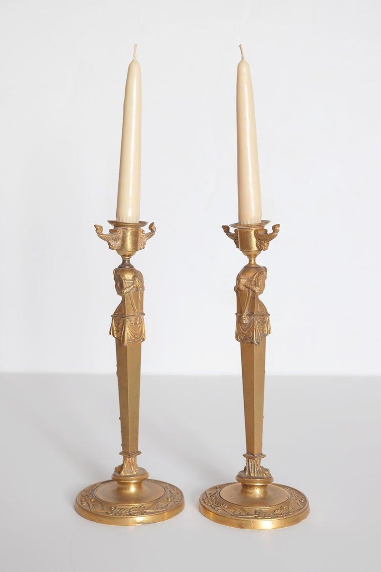 Pair of Regency Gilt Bronze Candlesticks in the Egyptian Taste For Sale 4