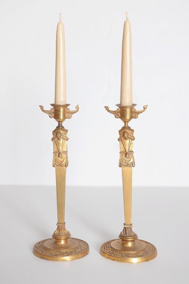 Pair of Regency Gilt Bronze Candlesticks in the Egyptian Taste For Sale 5