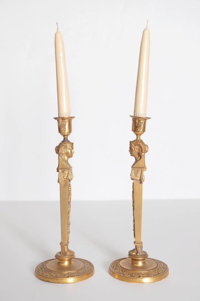 Pair of Regency Gilt Bronze Candlesticks in the Egyptian Taste For Sale 6