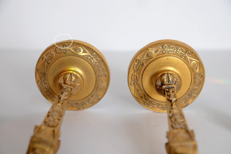 Pair of Regency Gilt Bronze Candlesticks in the Egyptian Taste For Sale 10
