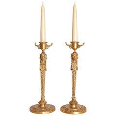 Pair of Regency Gilt Bronze Candlesticks in the Egyptian Taste