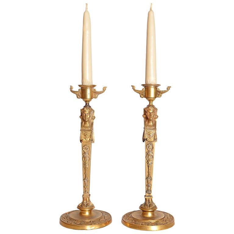 Pair of Regency Gilt Bronze Candlesticks in the Egyptian Taste For Sale
